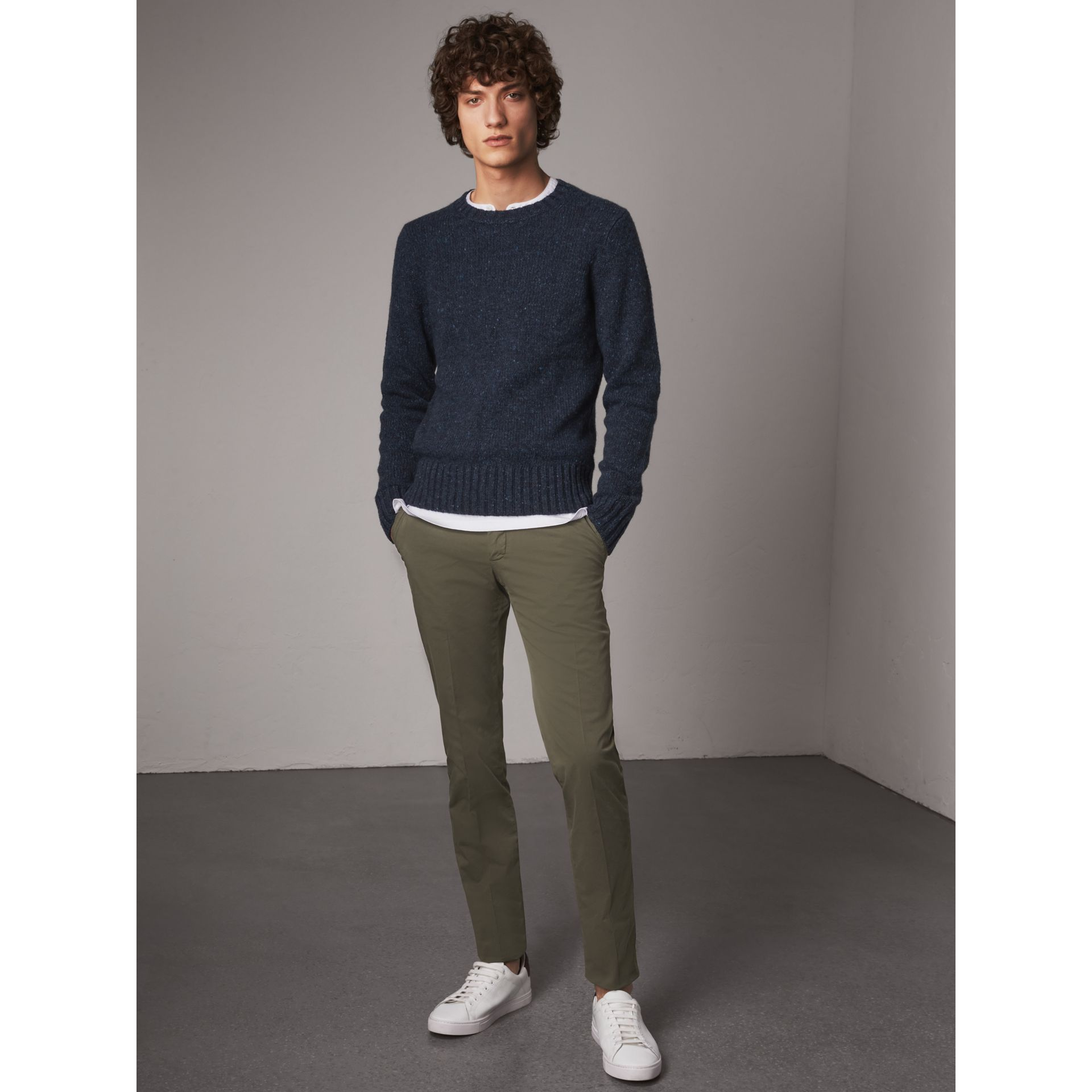 Slim Fit Stretch Cotton Chinos in Slate Green - Men | Burberry Canada - gallery image 1