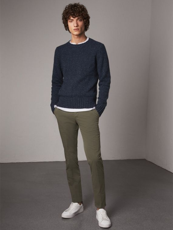 Slim Fit Stretch Cotton Chinos in Slate Green