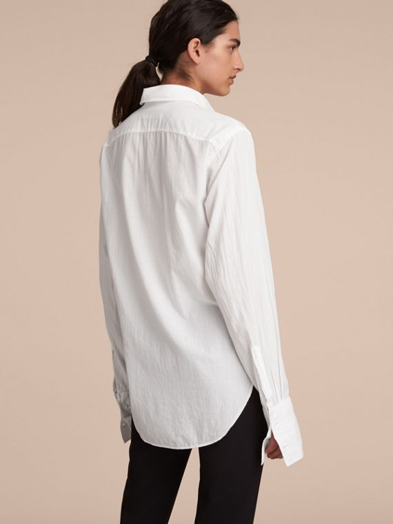 Unisex Double-cuff Pintuck Bib Cotton Shirt White - cell image 2