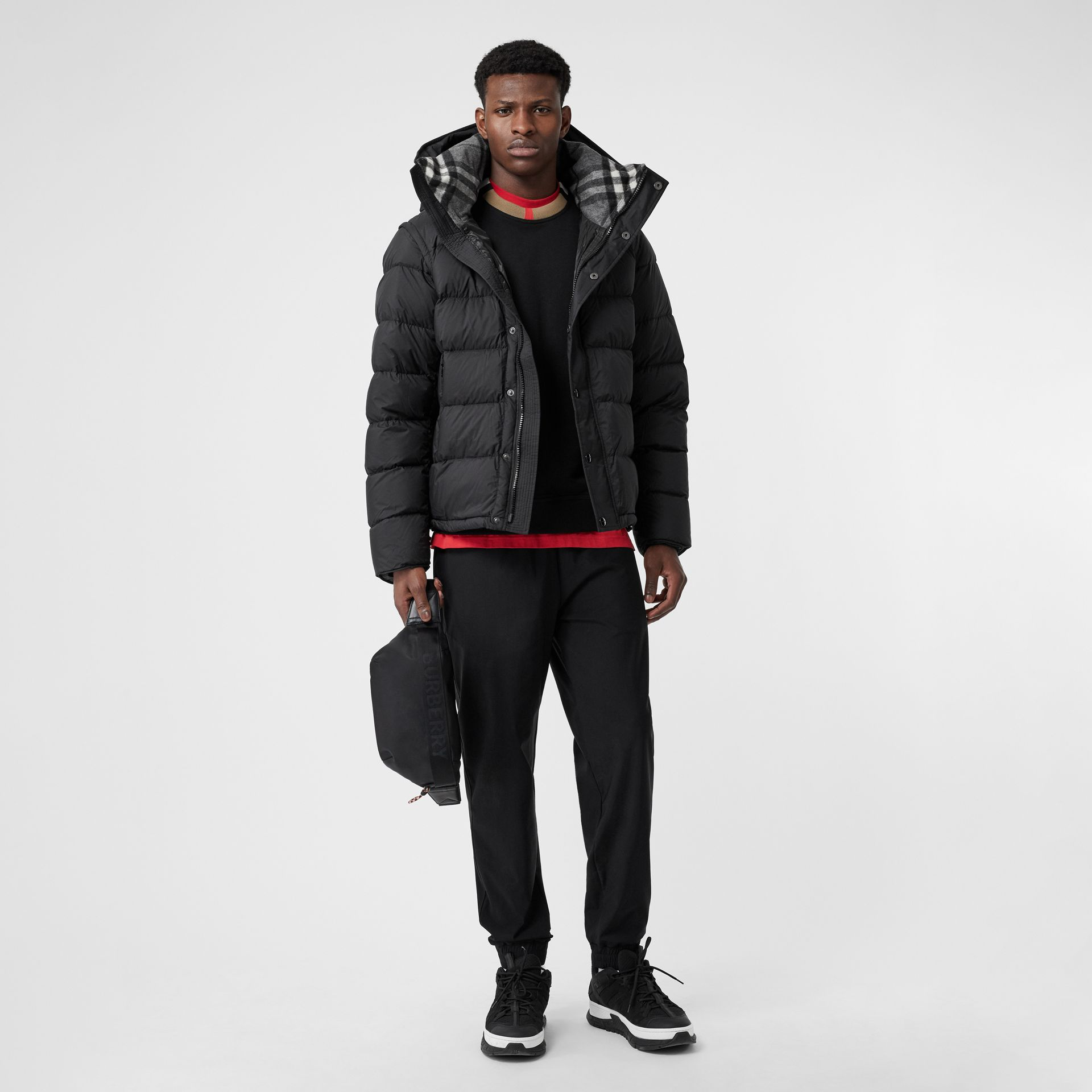Detachable-sleeve Down-filled Hooded Puffer Jacket in Black - Men | Burberry United States - gallery image 0