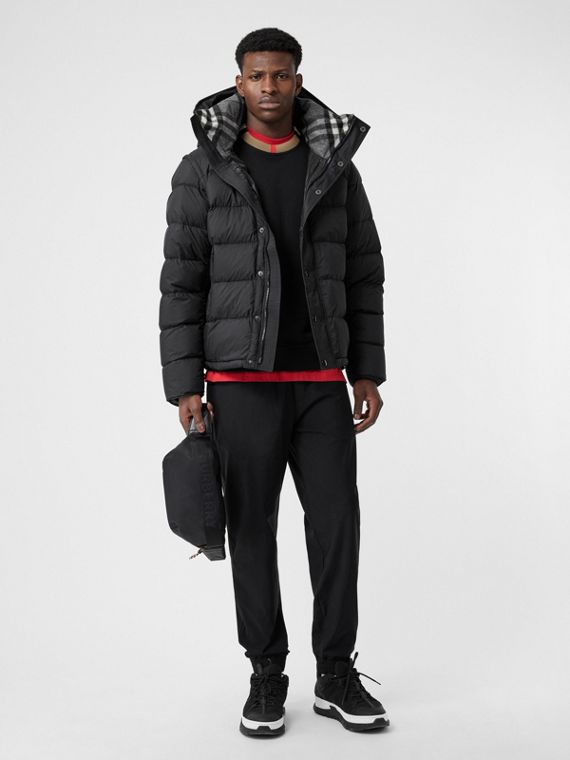 Detachable-sleeve Down-filled Hooded Puffer Jacket in Black