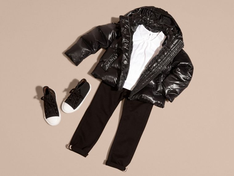 Black High-shine Down-filled Puffer Coat - cell image 4