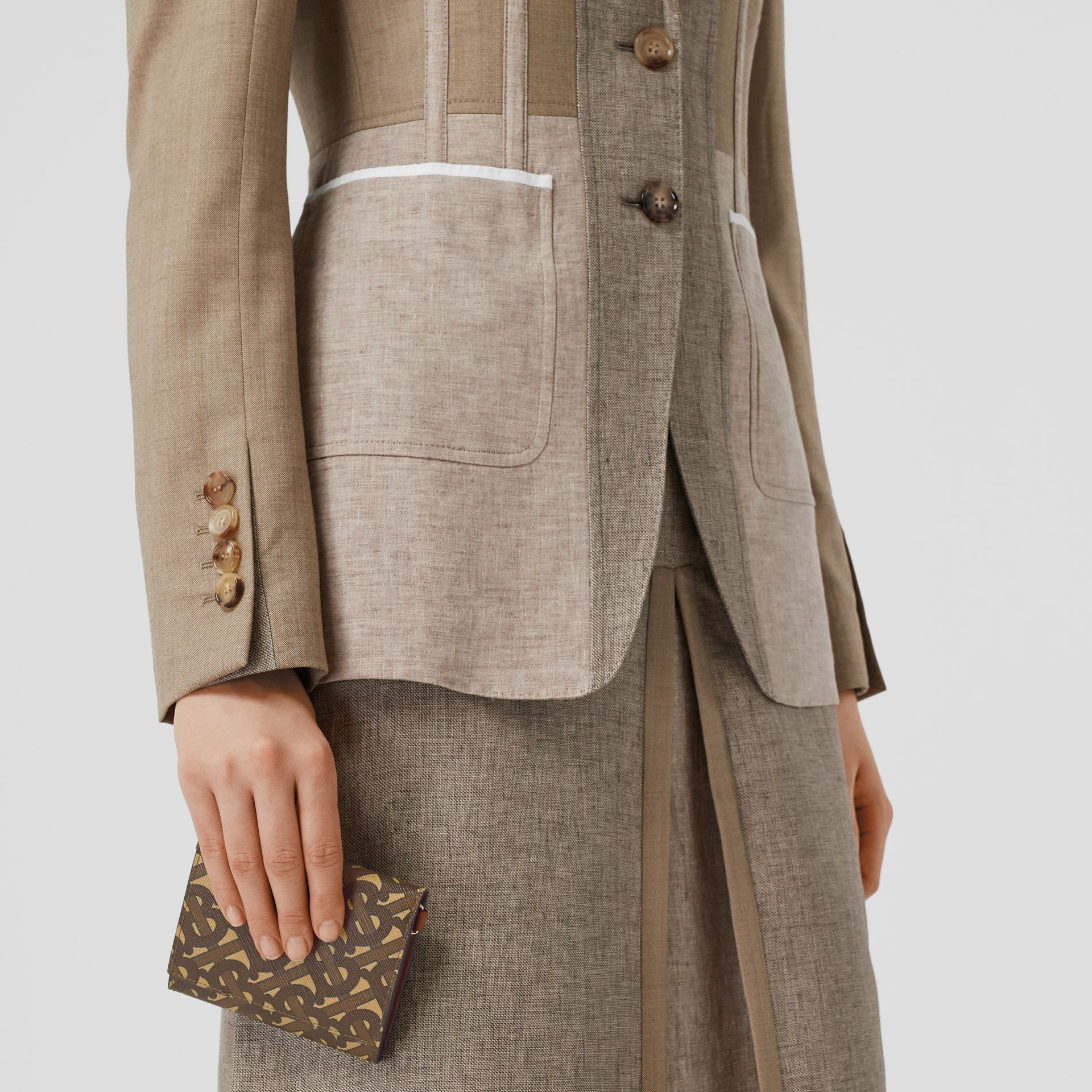 Small Monogram Print Wallet with Detachable Strap in Bridle Brown | Burberry United Kingdom - gallery image 8