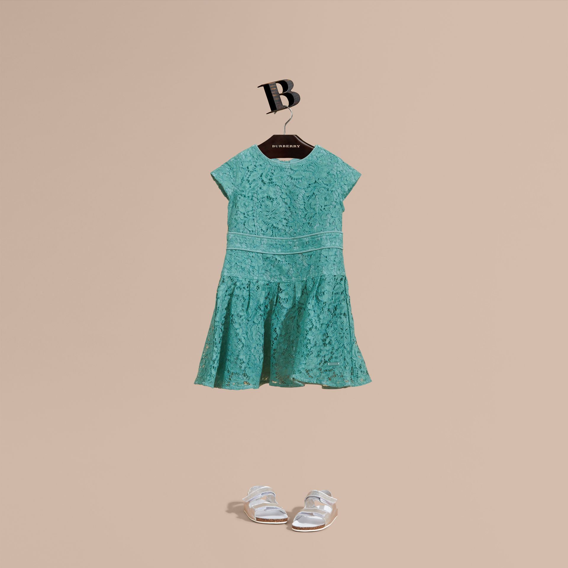 Cap Sleeve Macramé Lace Dress in Pale Turquoise - Girl | Burberry - gallery image 1