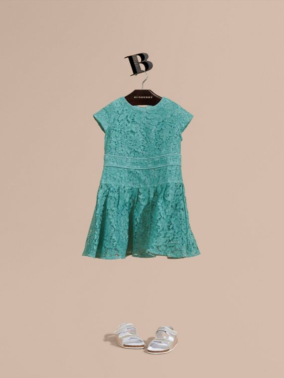 Cap Sleeve Macramé Lace Dress Pale Turquoise