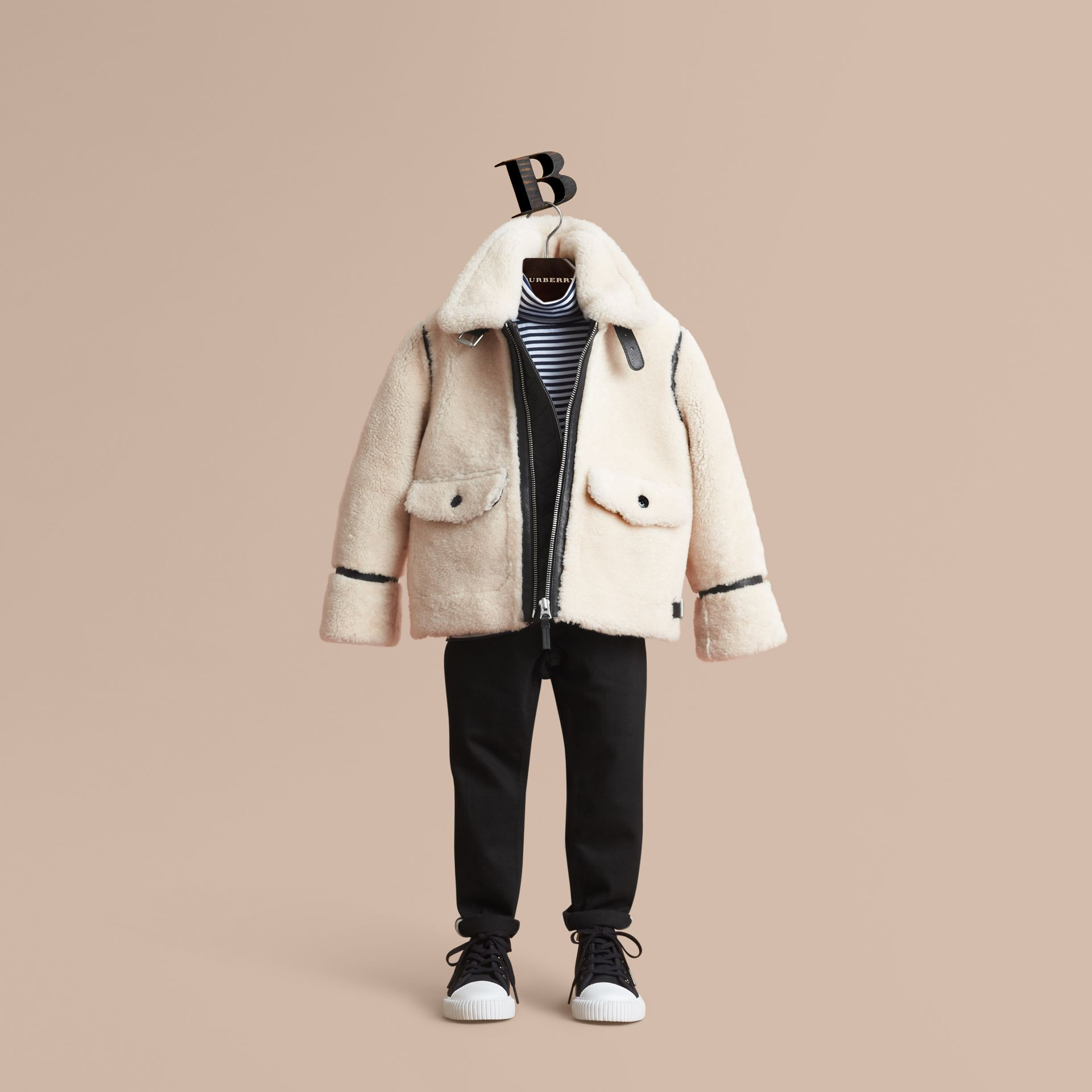 Leather Trim Shearling Aviator Jacket in Natural White - Boy | Burberry - gallery image 1