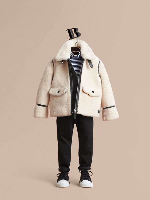 Leather Trim Shearling Aviator Jacket in Natural White