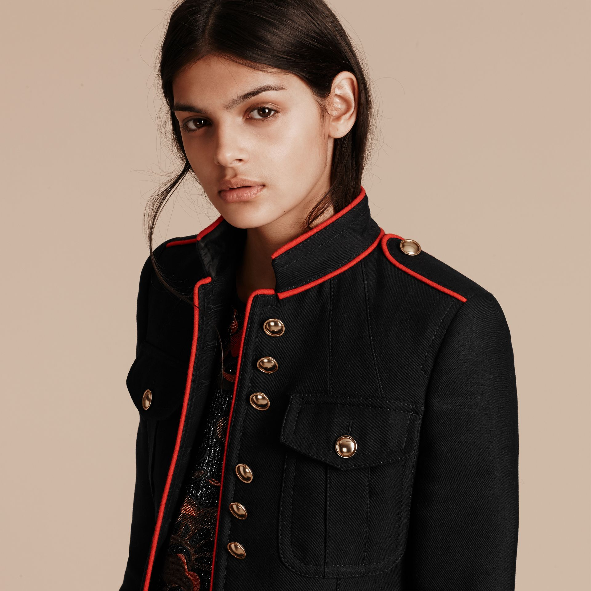 Navy Cotton Silk Regimental Jacket - gallery image 5