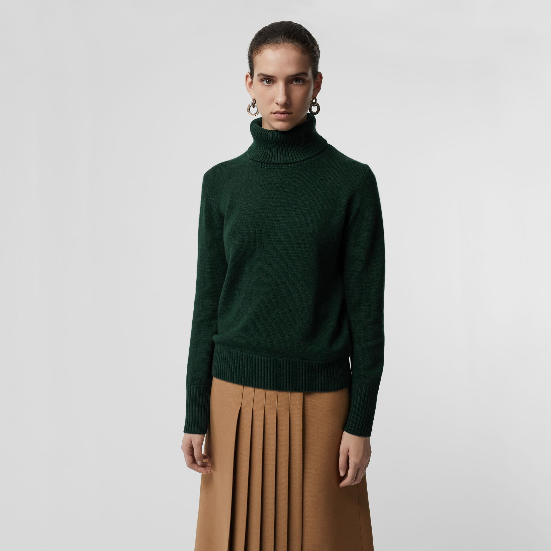 Embroidered Crest Cashmere Roll-neck Sweater in Dark Cedar Green - Women | Burberry - gallery image 4