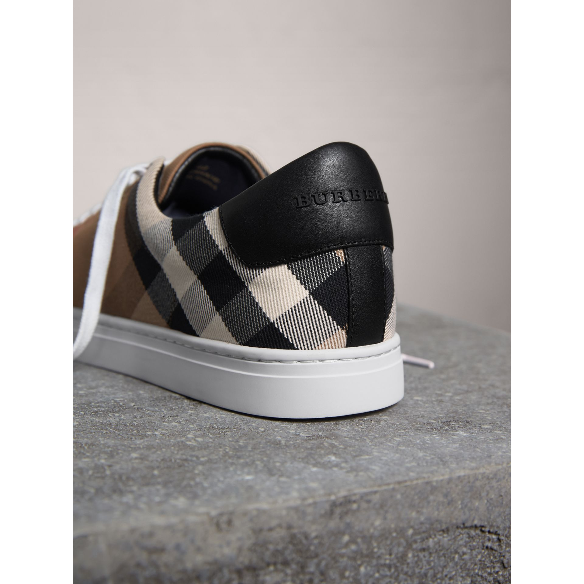 House Check Cotton and Leather Trainers in Check/black - Men | Burberry - gallery image 3