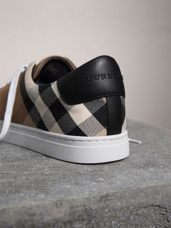 House Check Cotton and Leather Trainers in Check/black - Men | Burberry - cell image 3