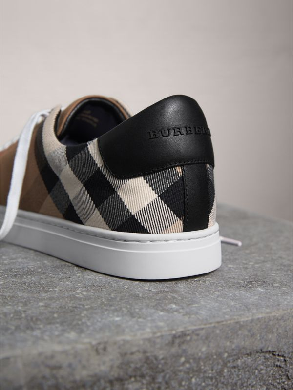 House Check and Leather Sneakers in Check/black - Men | Burberry - cell image 3