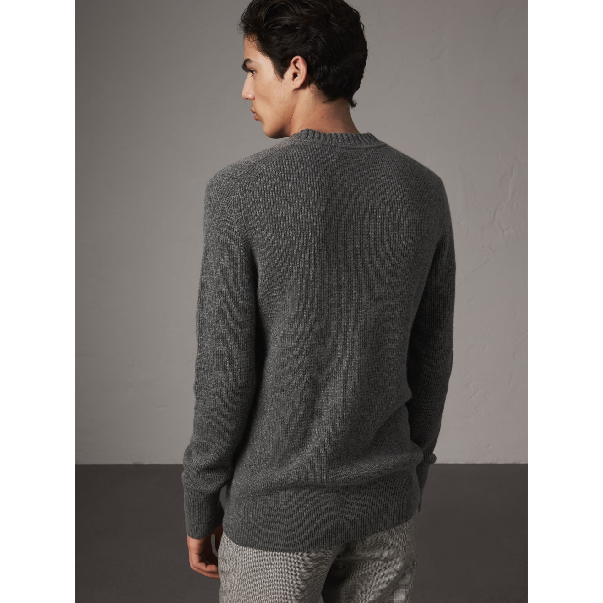 Waffle Knit Cashmere Sweater in Dark Grey Melange - Men | Burberry - gallery image 3