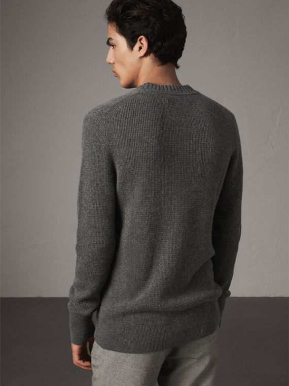 Waffle Knit Cashmere Sweater in Dark Grey Melange - Men | Burberry - cell image 2