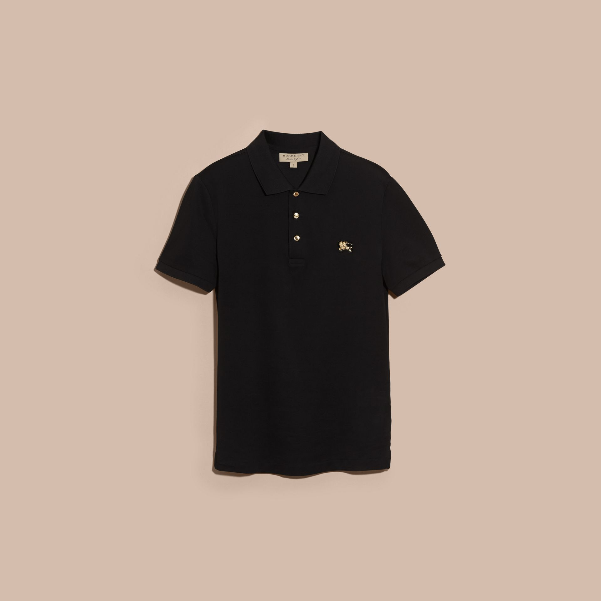 Fitted Mercerised Cotton-Piqué Polo Shirt Black - gallery image 4