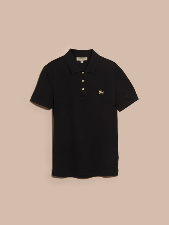 Black Fitted Mercerised Cotton-Piqué Polo Shirt Black - cell image 3