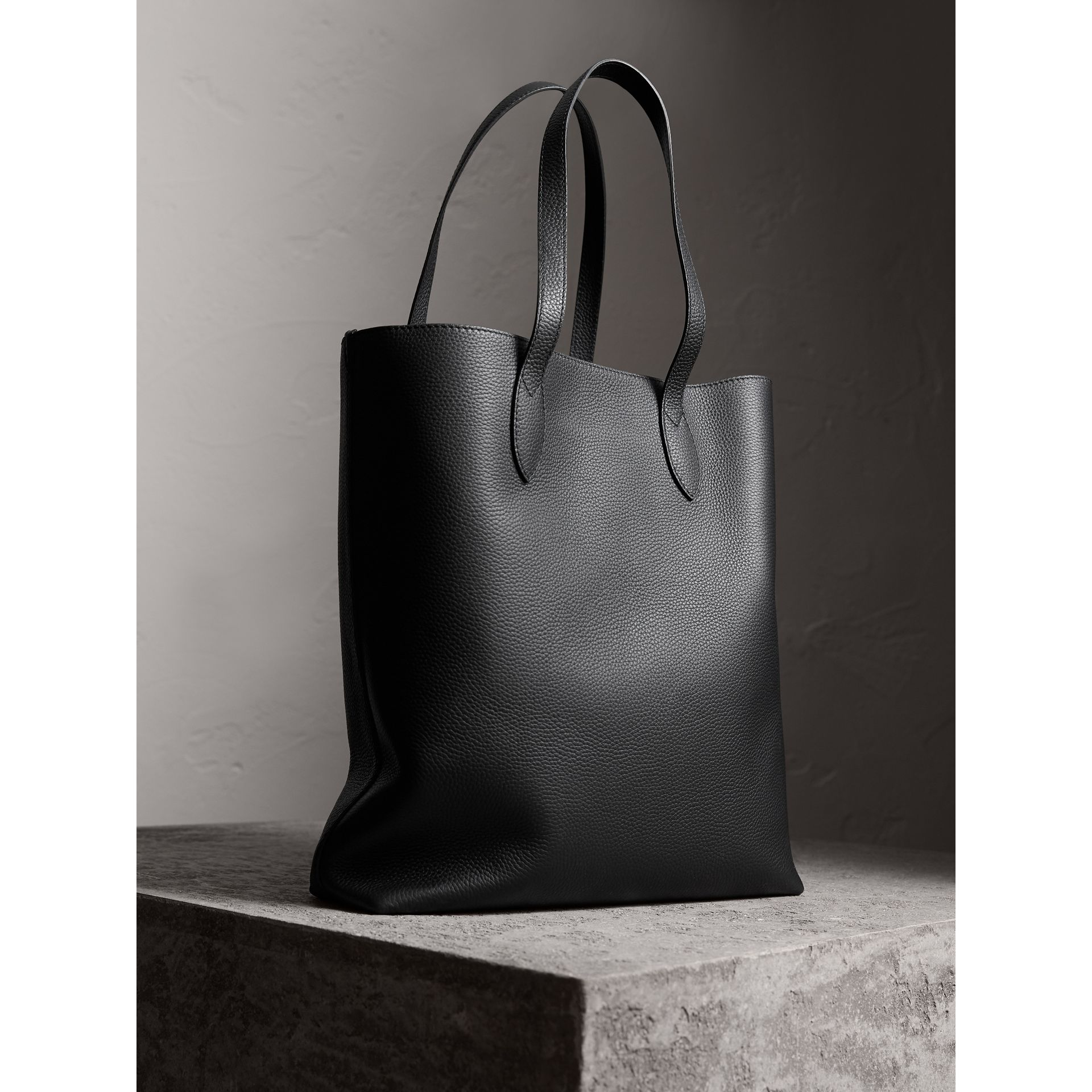 Medium Embossed Leather Tote Bag in Black | Burberry - gallery image 4