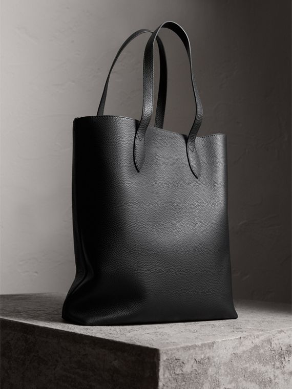 Medium Embossed Leather Tote Bag in Black | Burberry - cell image 3