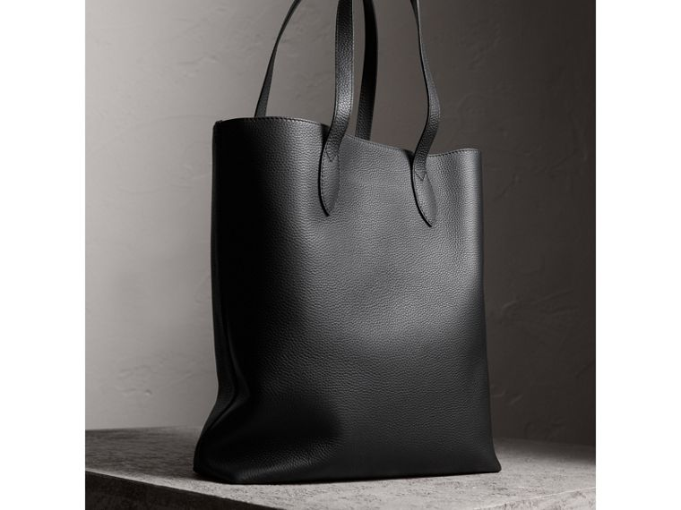 Medium Embossed Leather Tote in Black | Burberry - cell image 4