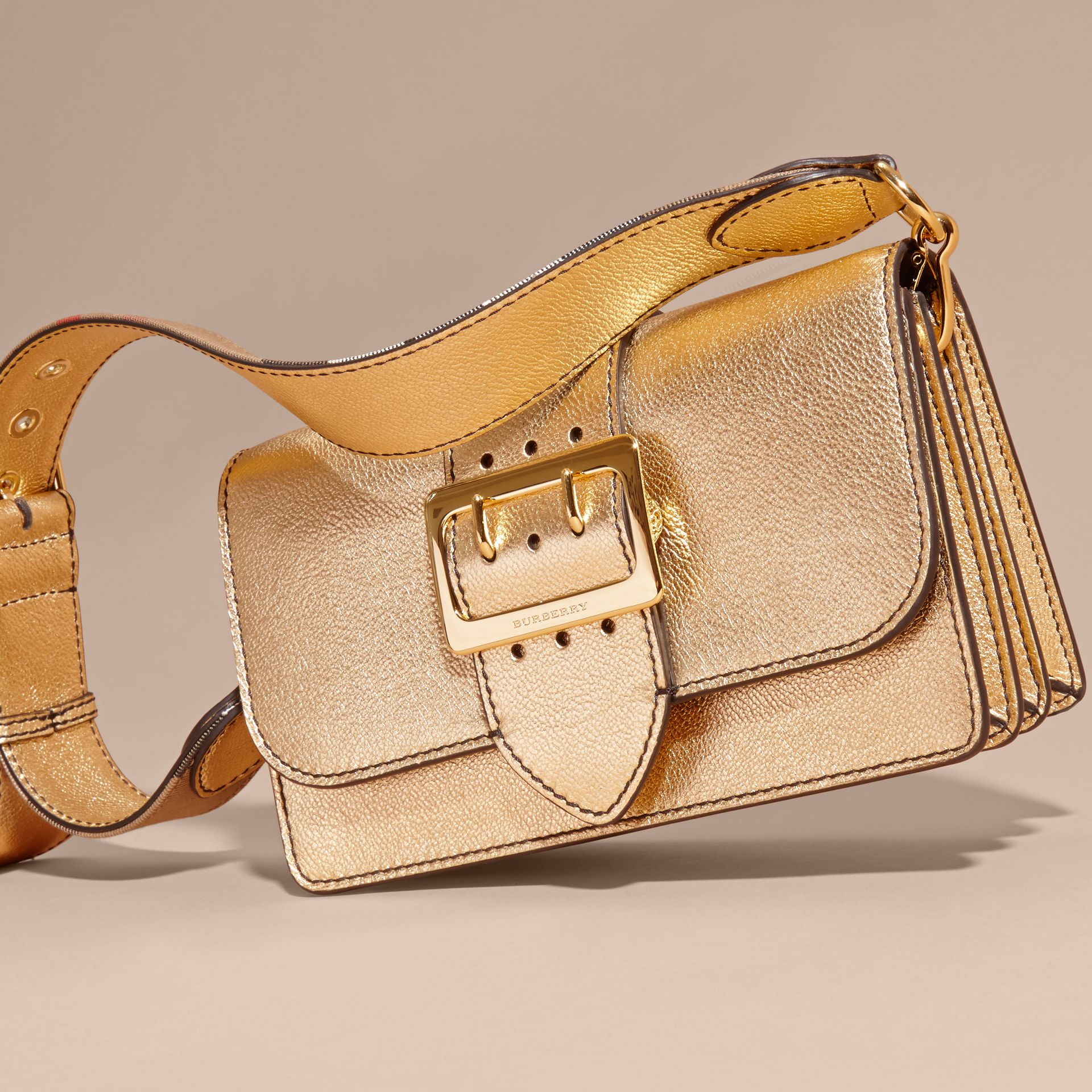 Gold The Medium Buckle Bag in Metallic Leather - gallery image 8