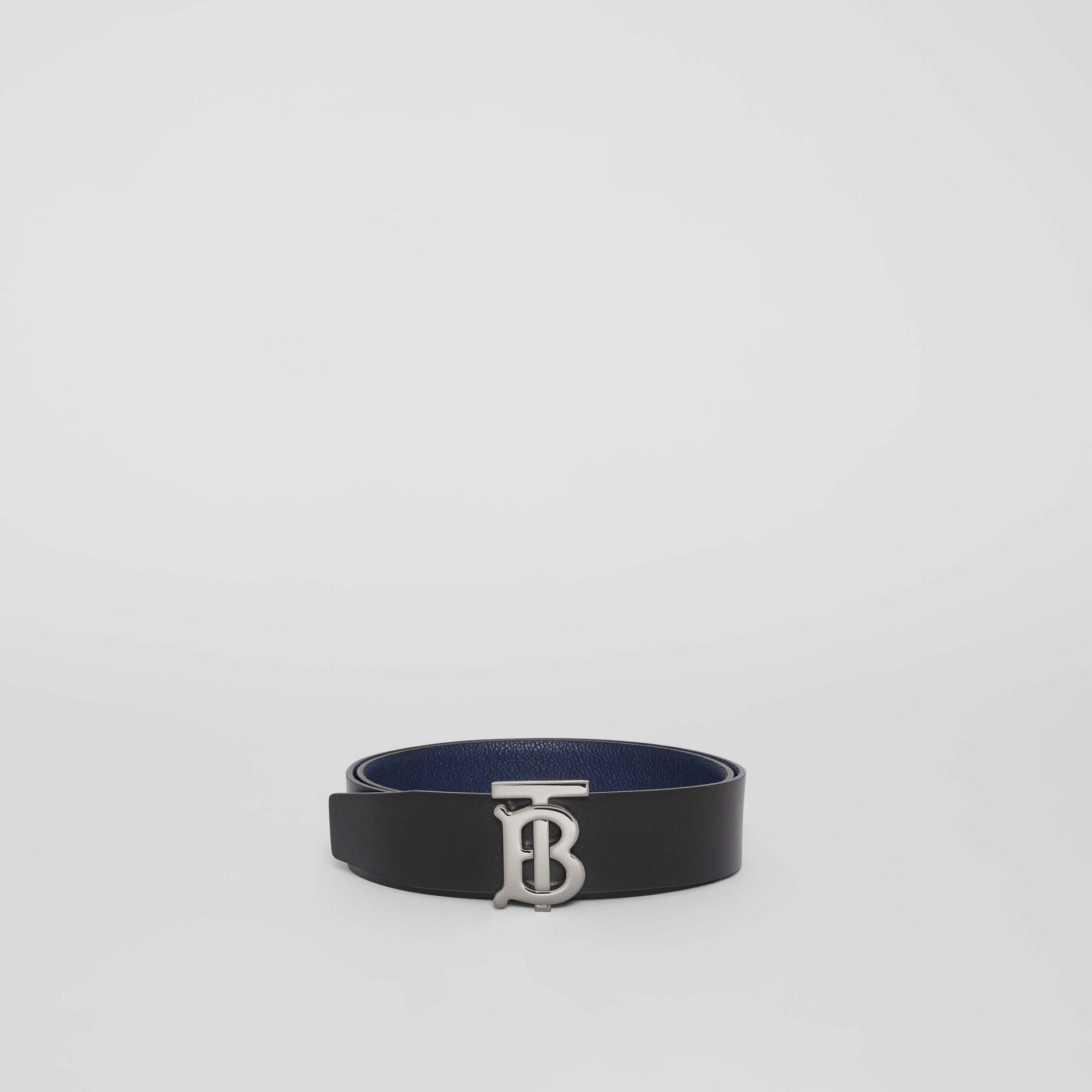 Reversible Monogram Motif Leather Belt in Navy/black - Men | Burberry United Kingdom - gallery image 4