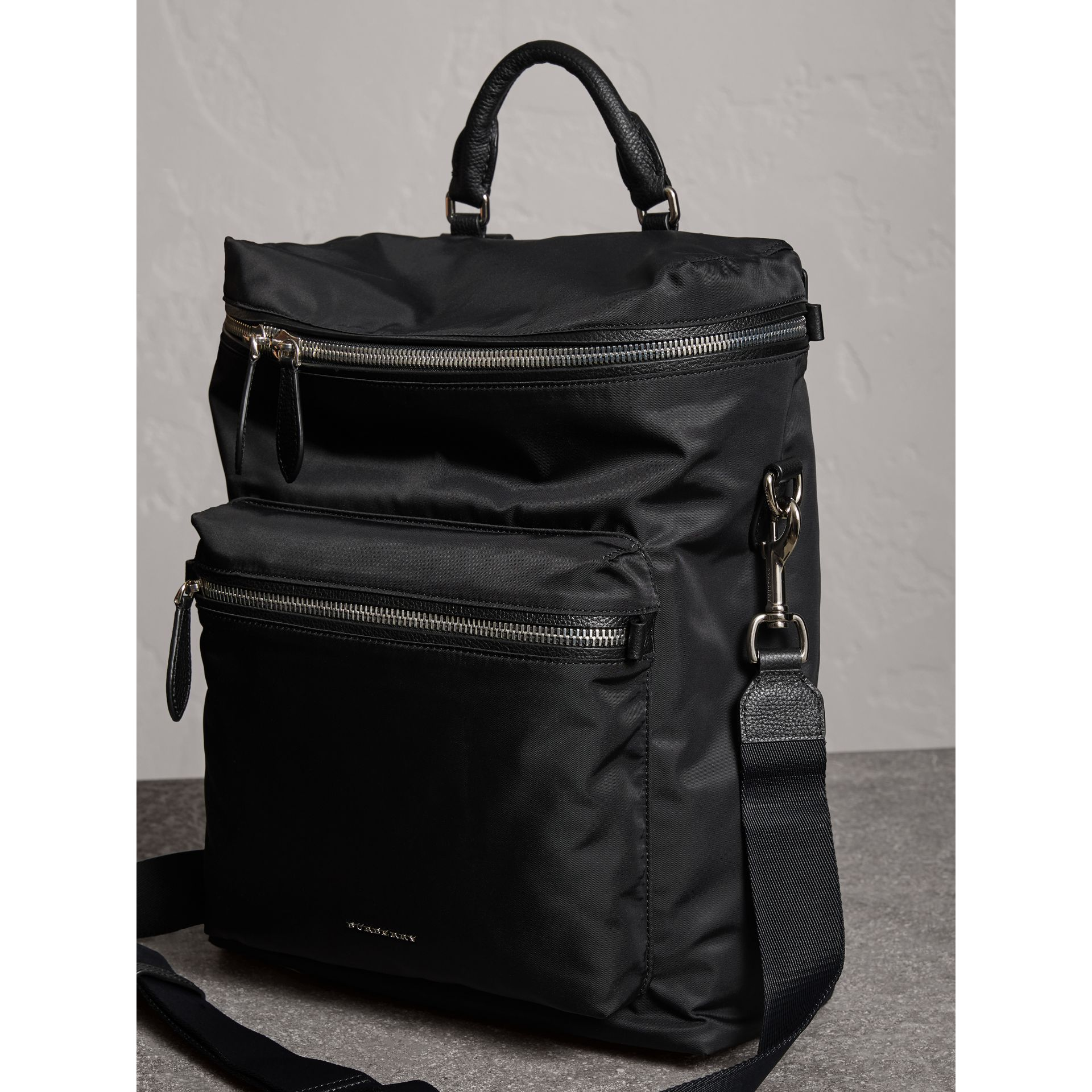 Zip-top Leather Trim Showerproof Backpack in Black - Men | Burberry - gallery image 7