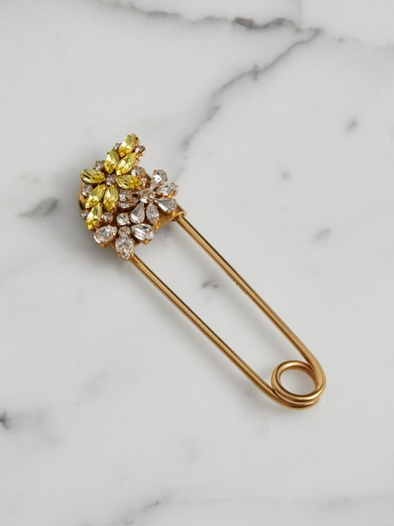 Crystal Daisy Oversized Pin in Iris Yellow