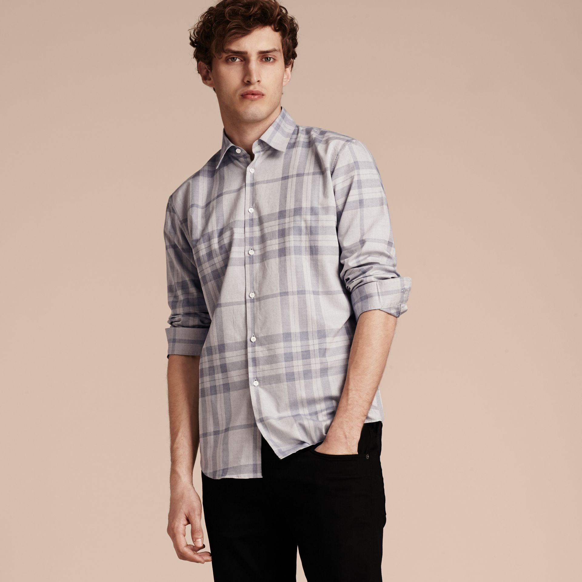 Dusty blue Check Cotton Flannel Shirt Dusty Blue - gallery image 6