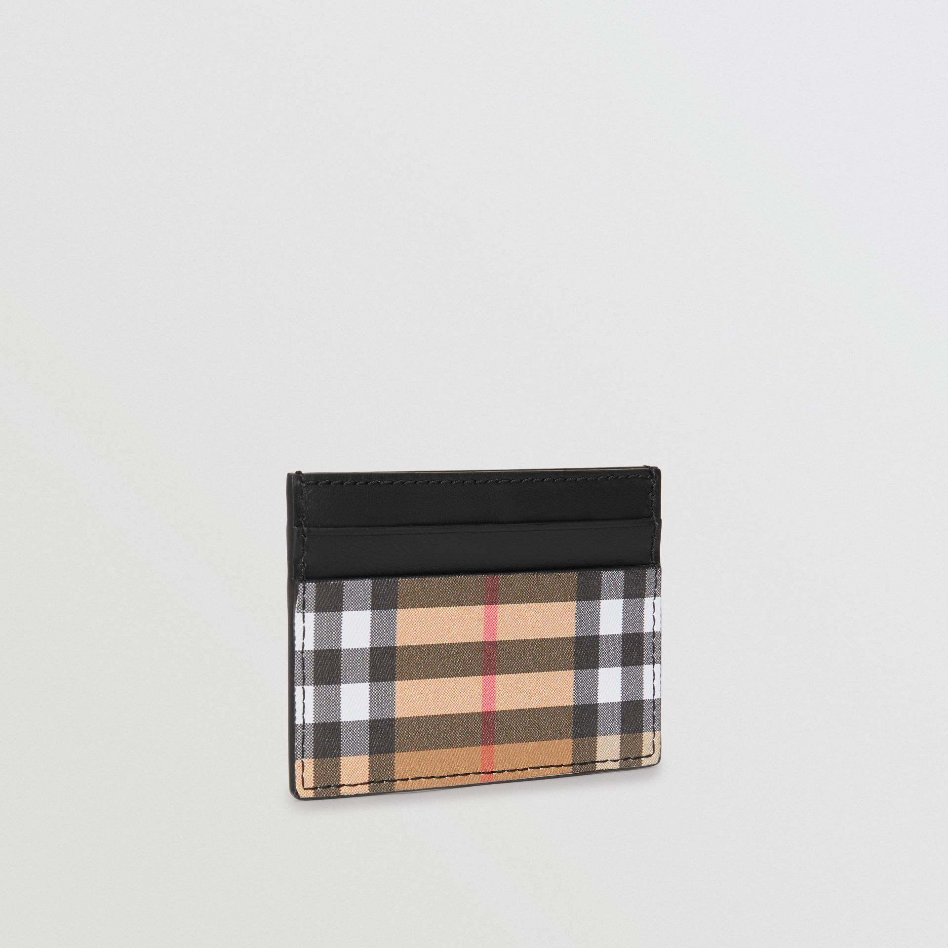 Vintage Check and Leather Card Case in Black - Men | Burberry United States - gallery image 4