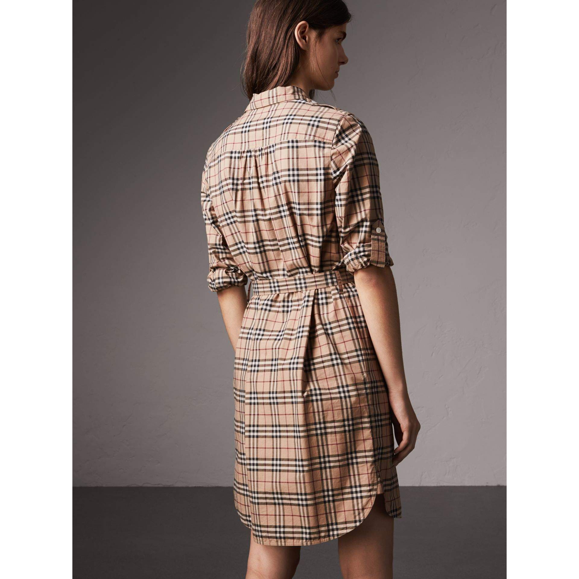 Check Cotton Tunic Dress in Camel - Women | Burberry - gallery image 2