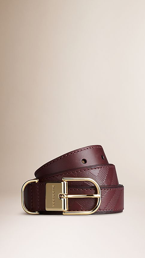 Deep claret Embossed Check London Leather Belt Deep Claret - Image 1