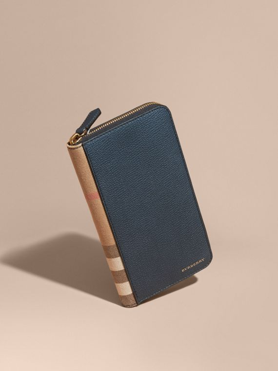 House Check and Grainy Leather Ziparound Wallet Storm Blue