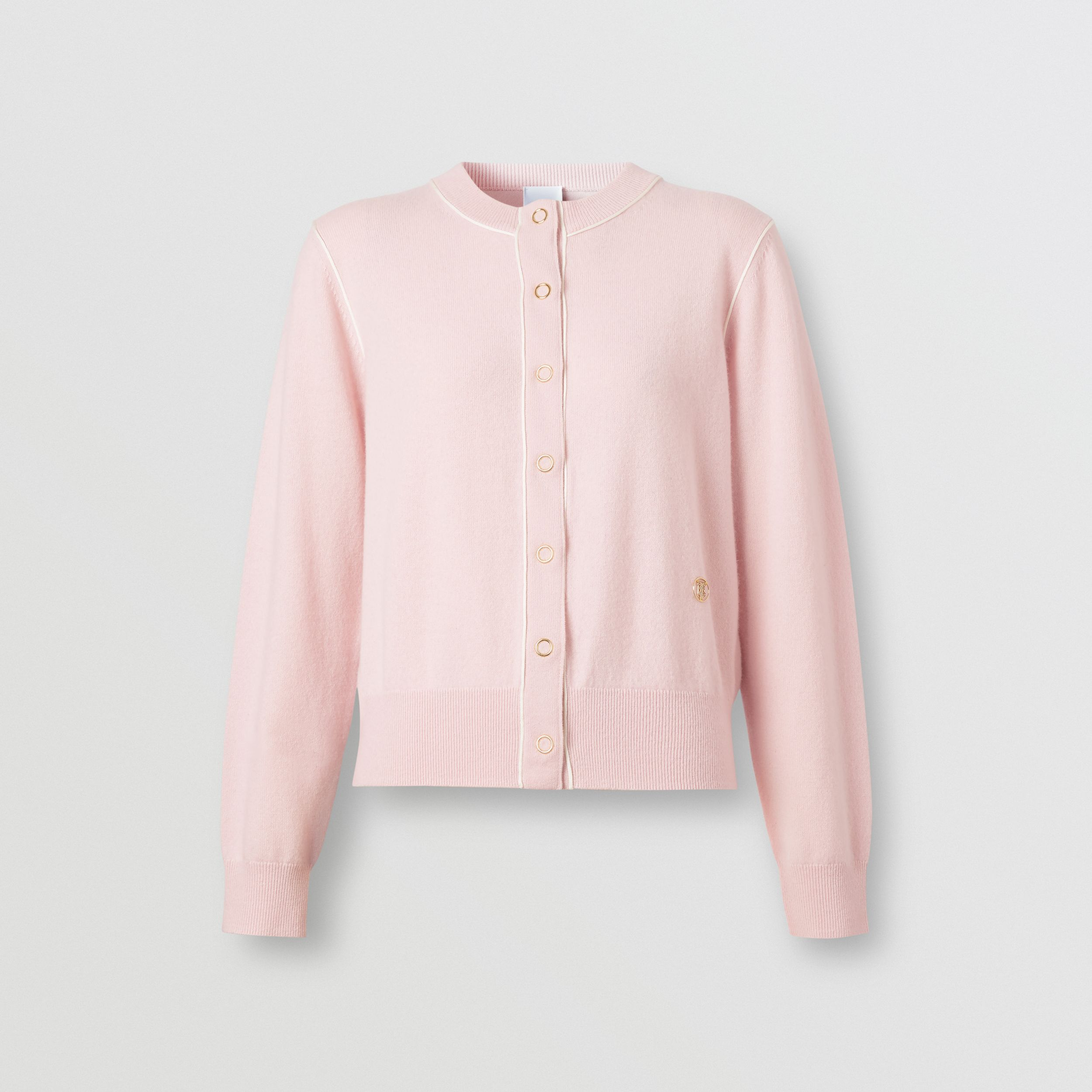 Silk Trim Monogram Motif Cashmere Cardigan in Copper Pink - Women | Burberry Australia - 4