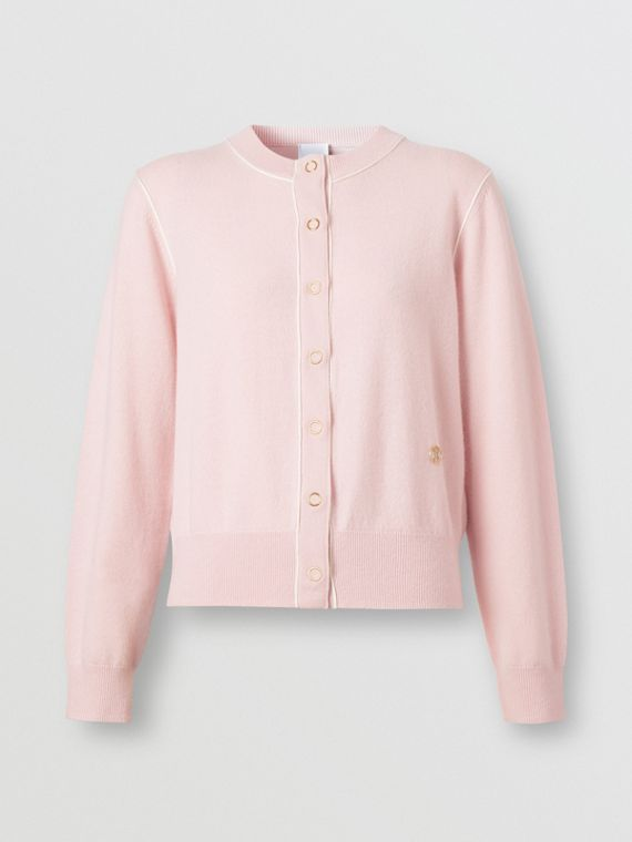 Silk Trim Monogram Motif Cashmere Cardigan in Copper Pink