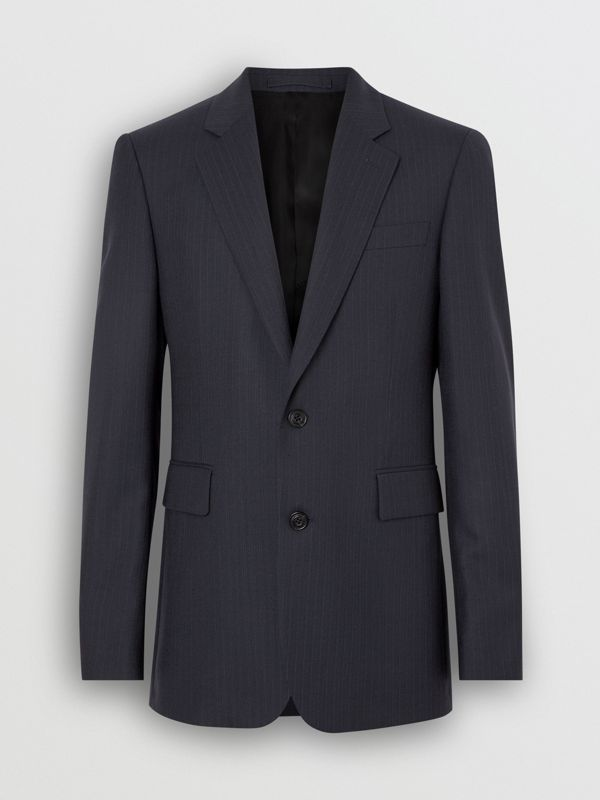 Classic Fit Pinstripe Wool Tailored Jacket in Navy Stripe - Men | Burberry United Kingdom - cell image 3