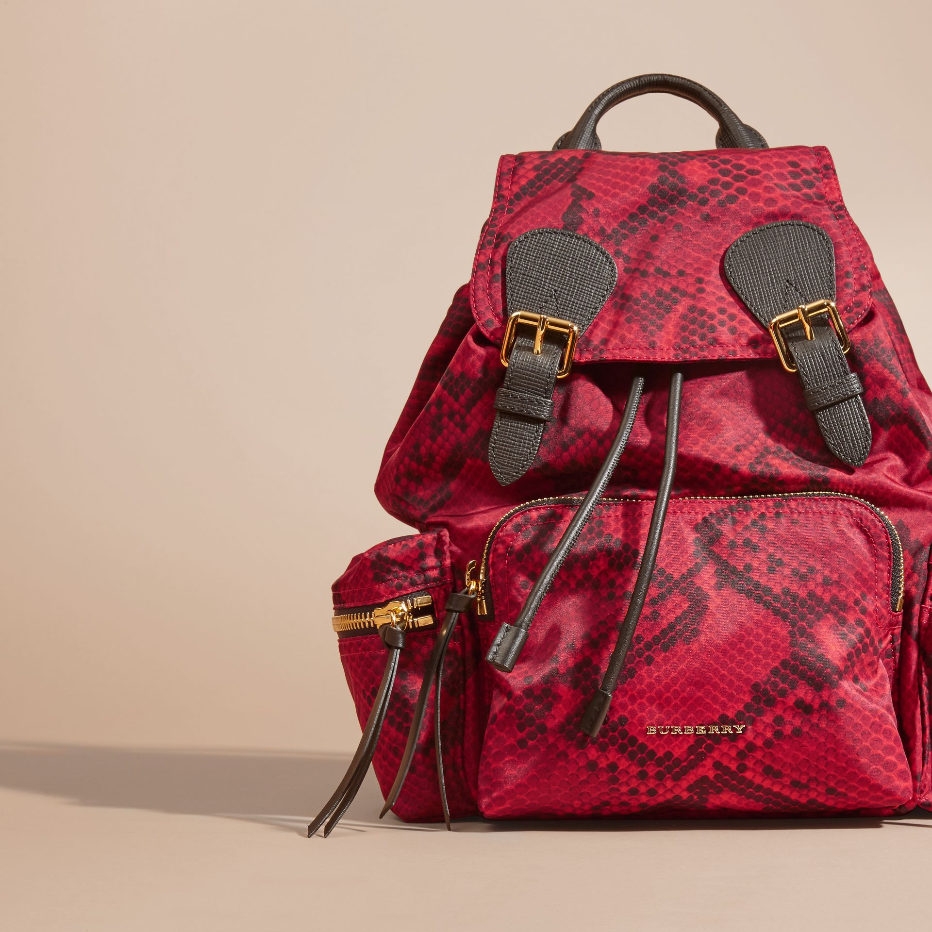 Burgundy red The Medium Rucksack in Python Print Nylon and Leather Burgundy Red - gallery image 7