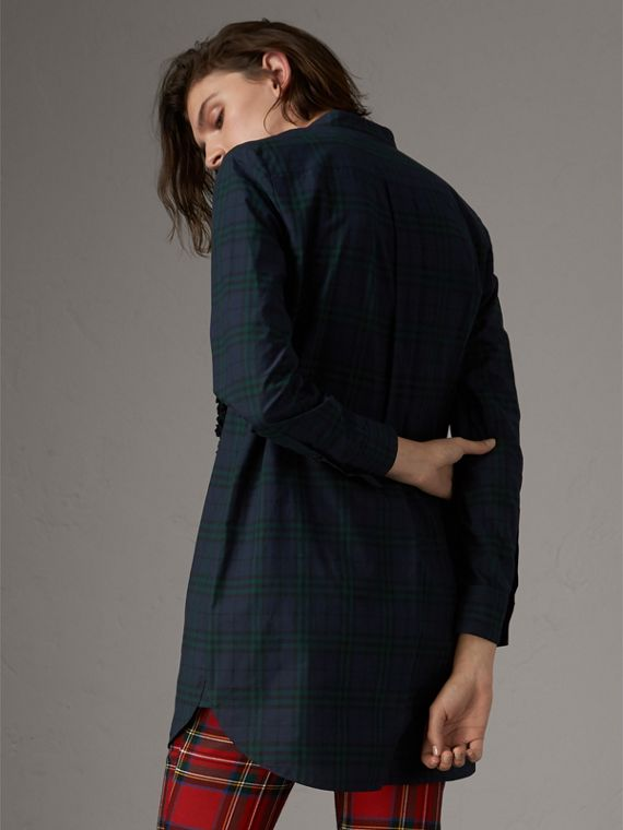 Ruffle Detail Check Cotton Tunic Shirt in Ink Blue - Women | Burberry - cell image 2