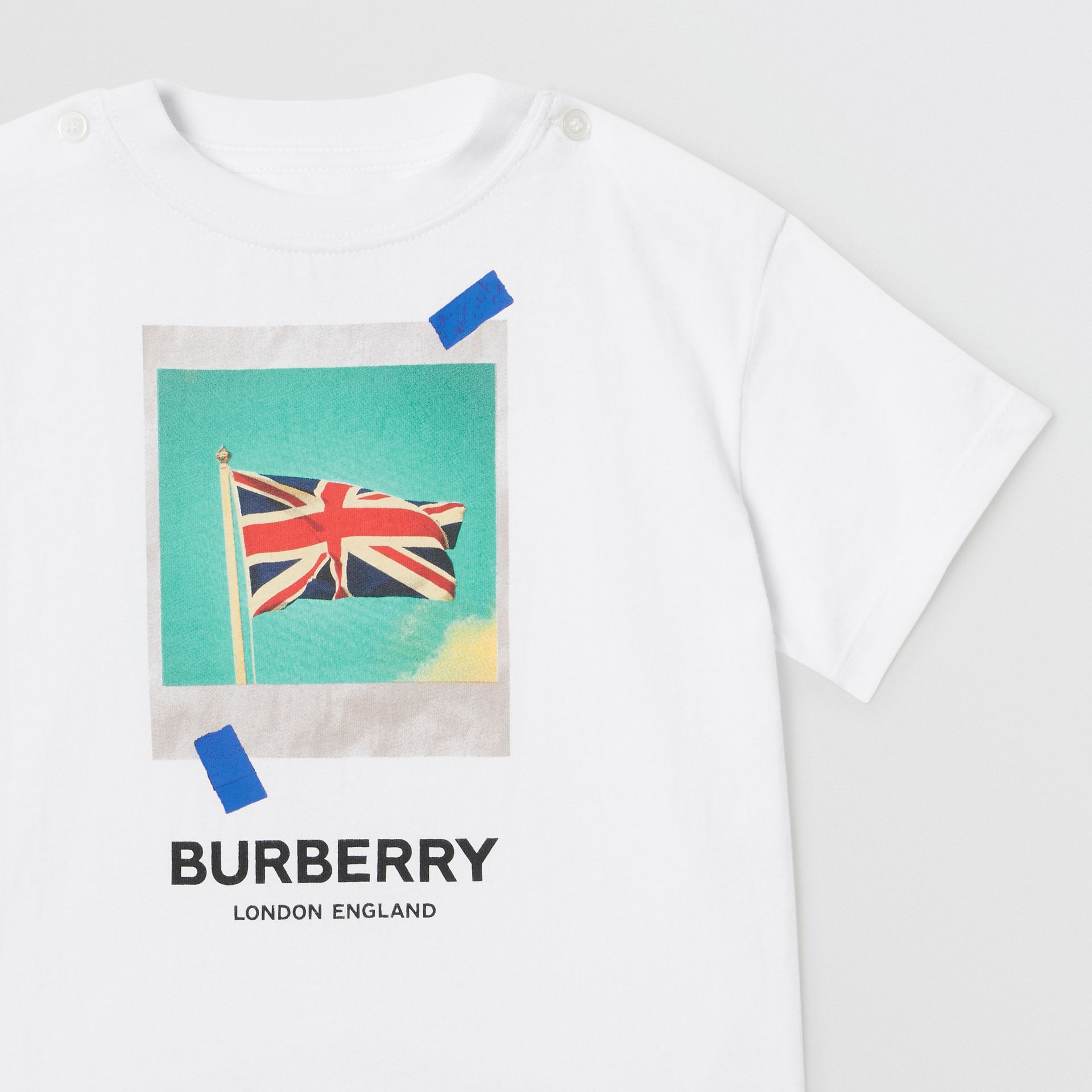 Polaroid Print Cotton T-shirt in White - Children | Burberry Australia - gallery image 4