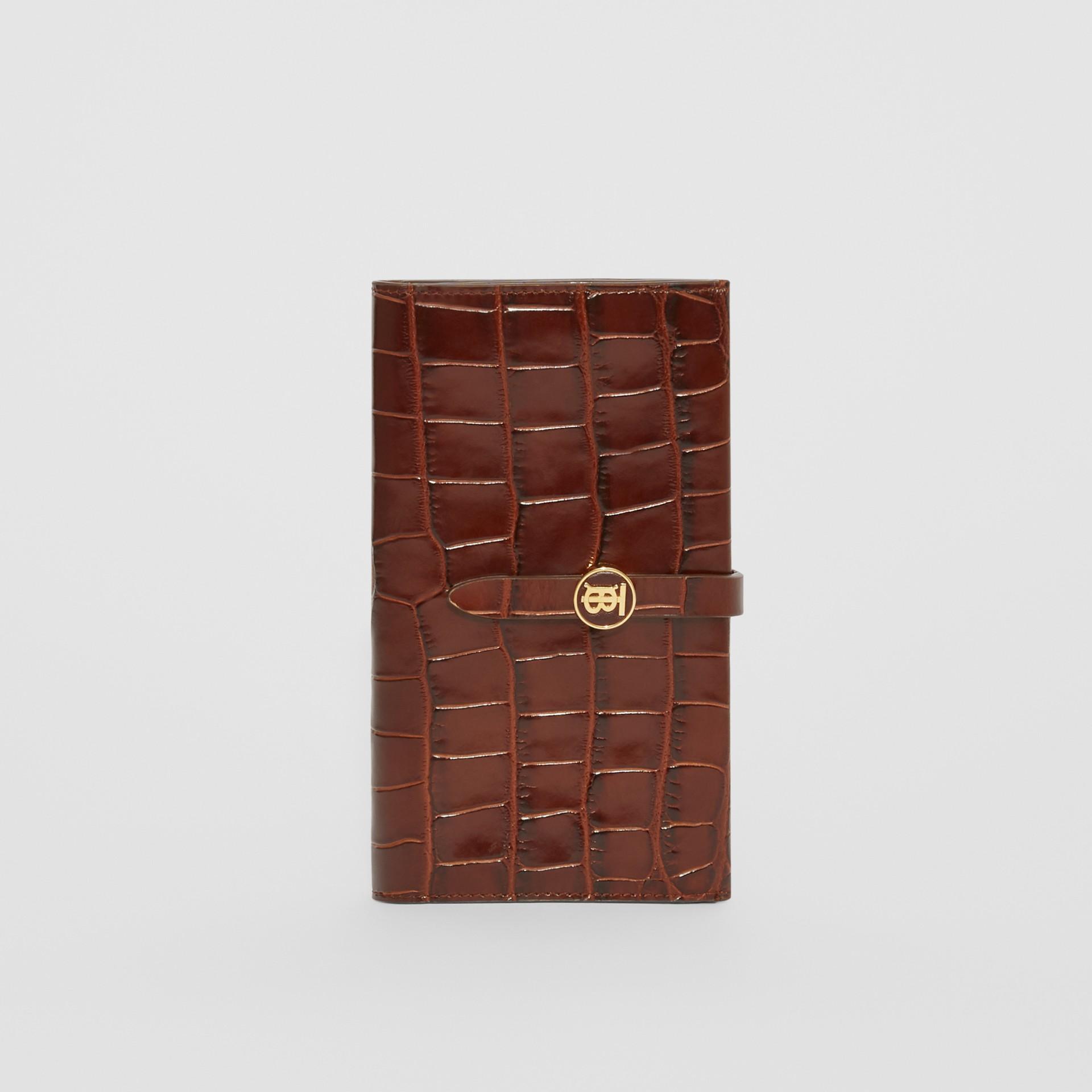 Monogram Motif Embossed Leather Folding Wallet in Tan - Women | Burberry - gallery image 6
