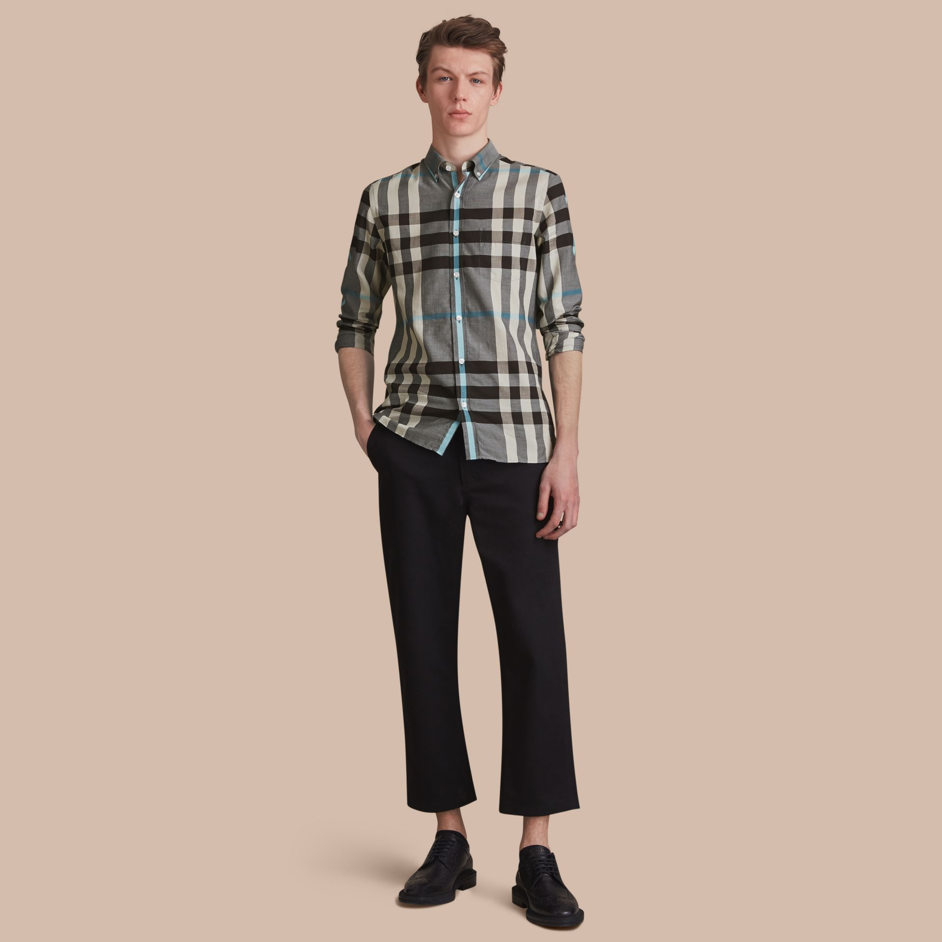 Button-down Collar Check Cotton Poplin Shirt in Mist Grey - Men | Burberry - gallery image 1