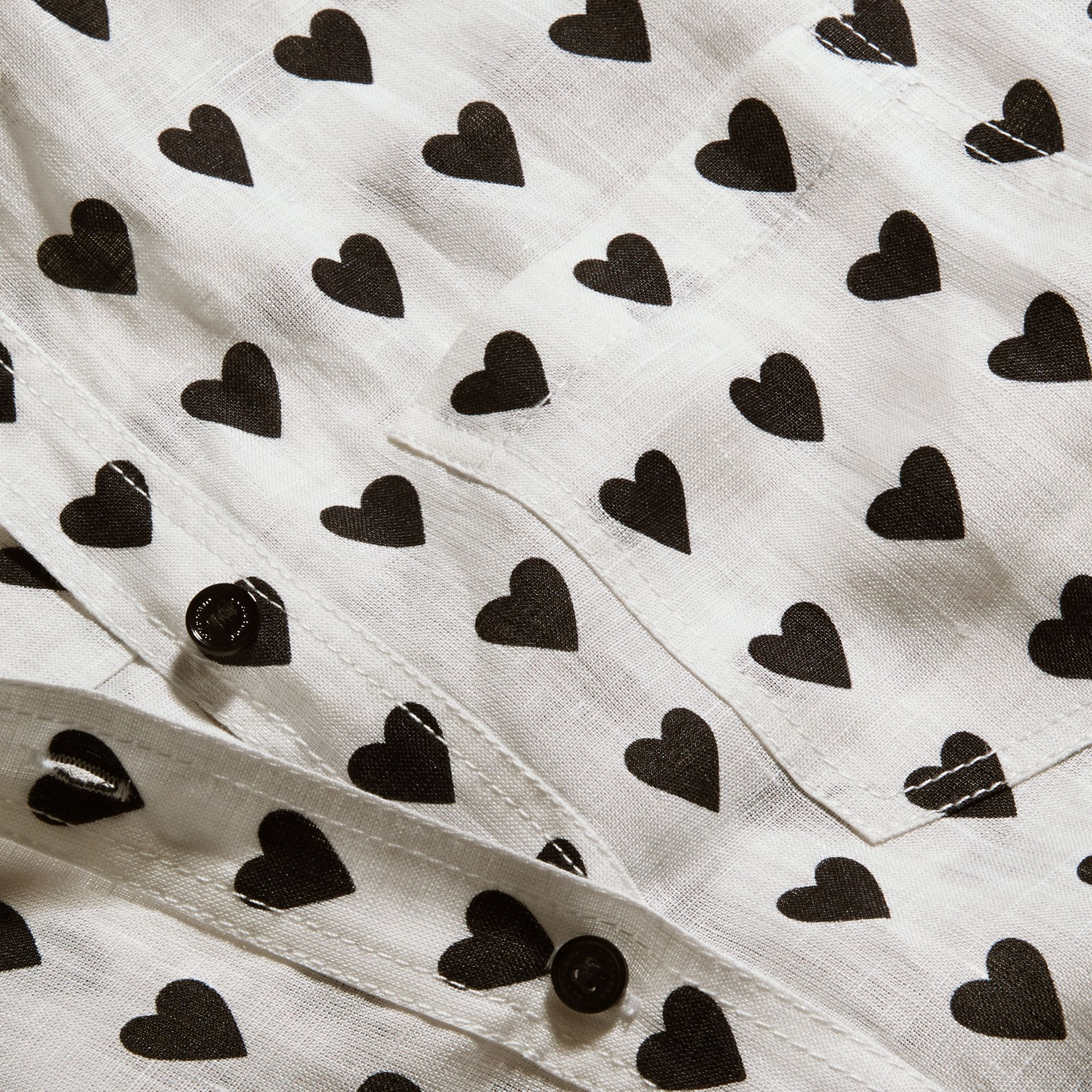 Heart Print Linen Shirt Natural White - gallery image 2