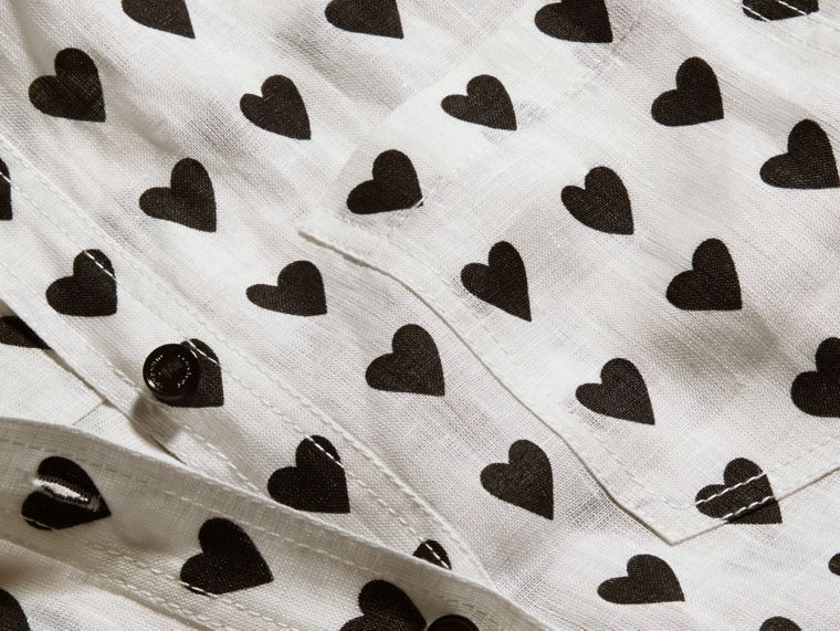Heart Print Linen Shirt Natural White - cell image 1