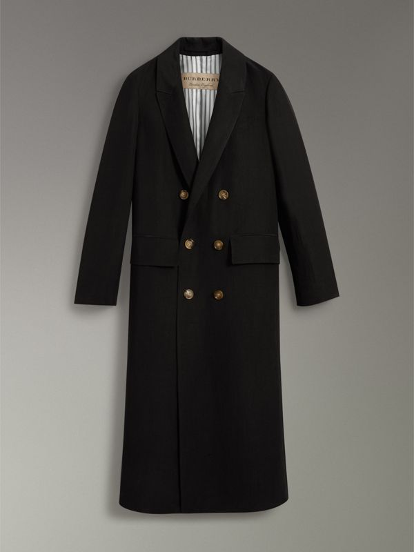 Linen Silk Tailored Coat in Black - Women | Burberry United Kingdom - cell image 3