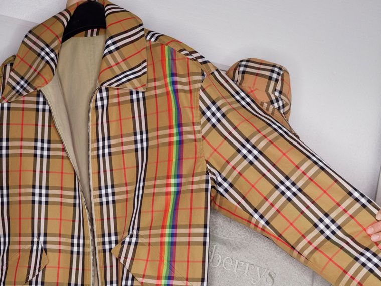 Rainbow Vintage Check Harrington Jacket in Antique Yellow/rainbow - Men | Burberry - cell image 4