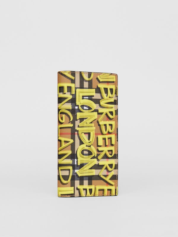 Graffiti Print Vintage Check Leather Continental Wallet in Multicolour - Men | Burberry - cell image 3