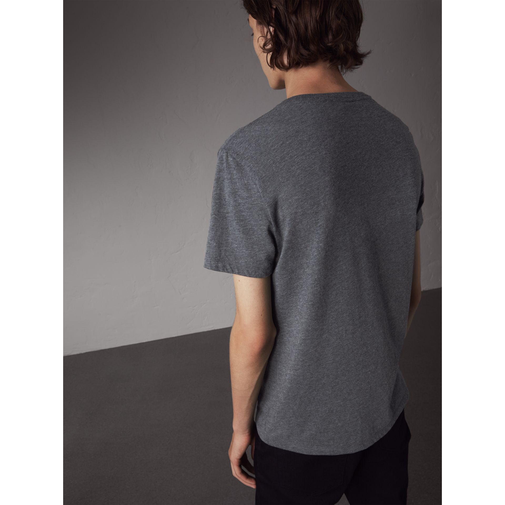 Devoré Cotton Jersey T-shirt in Mid Grey Melange - Men | Burberry - gallery image 2