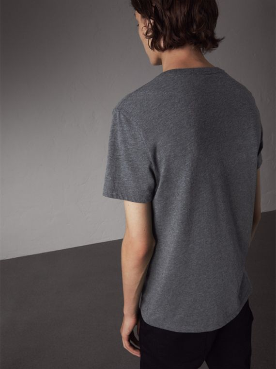 Devoré Cotton Jersey T-shirt in Mid Grey Melange - Men | Burberry Australia - cell image 2