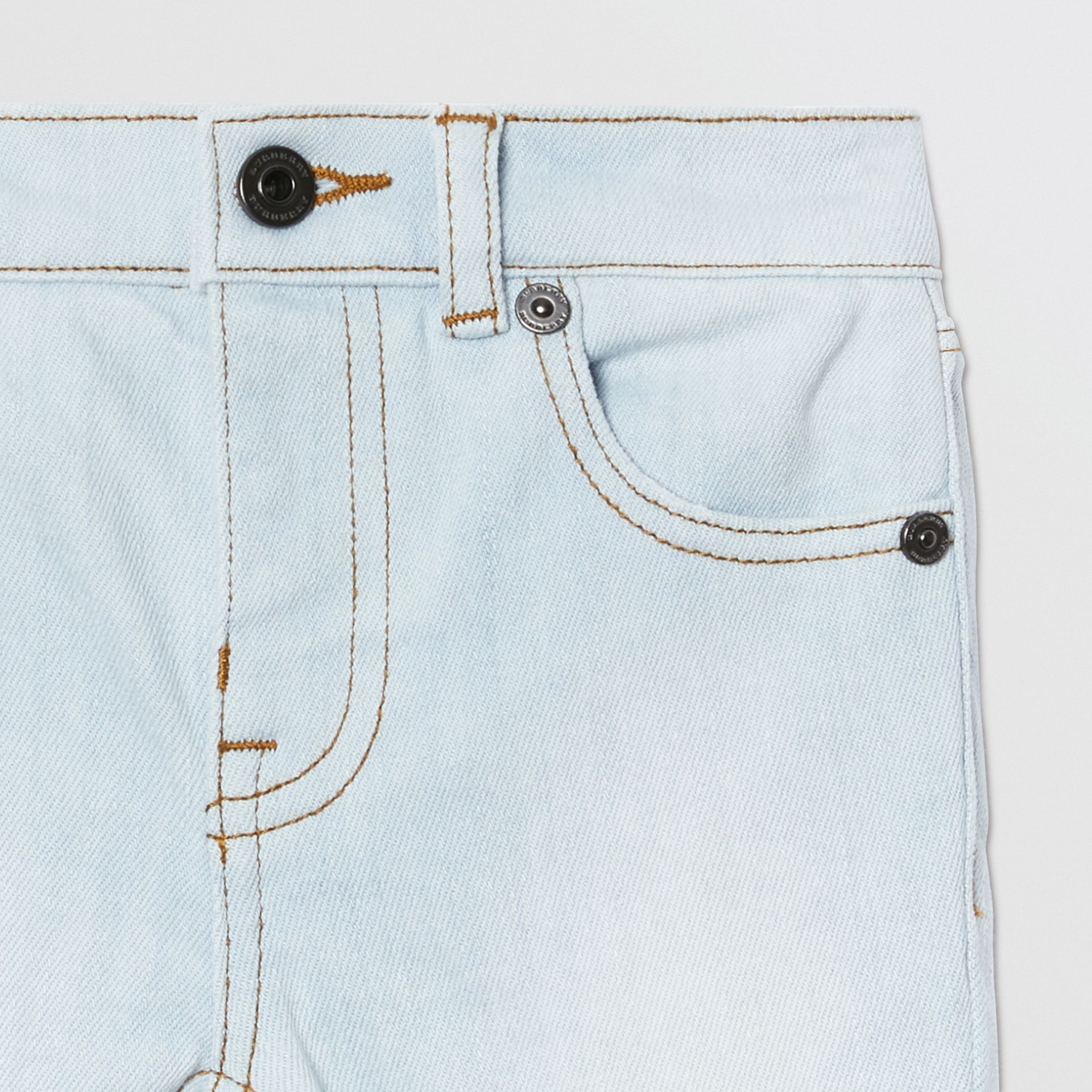 Relaxed Fit Stretch Denim Jeans in Light Blue - Children | Burberry - gallery image 4