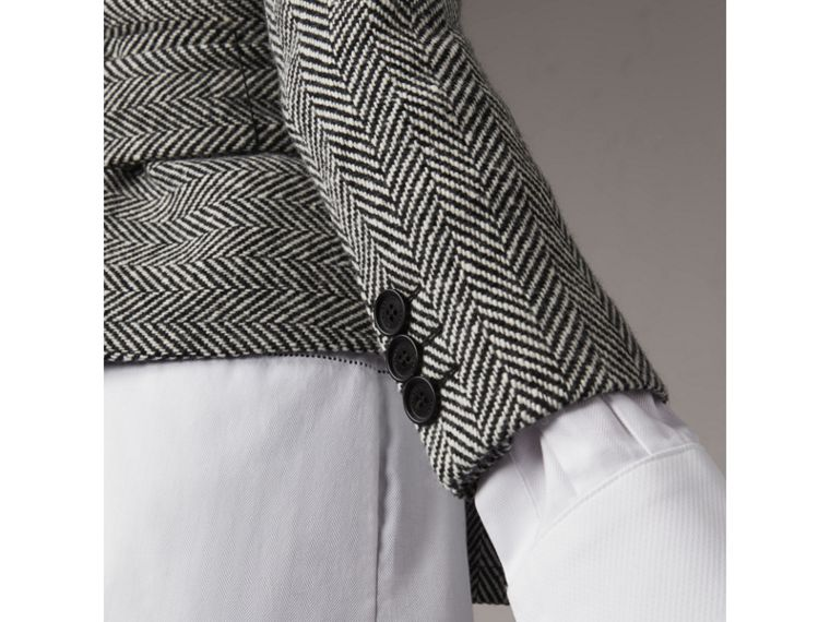 Herringbone Wool Cashmere Wrap Jacket - Women | Burberry - cell image 4