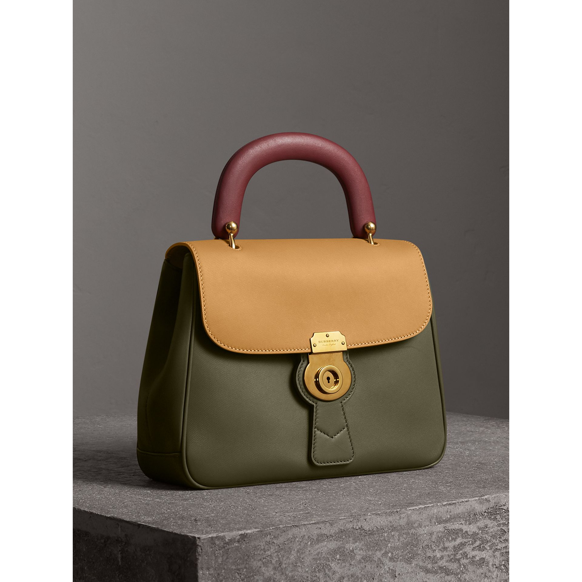 The Medium DK88 Top Handle Bag in Moss Green/ochre Yellow - Women | Burberry - gallery image 6